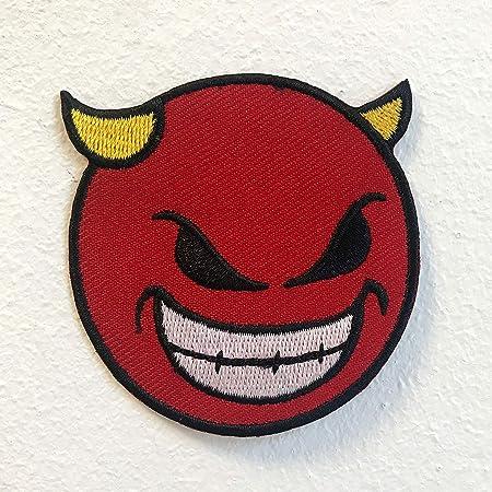 Diable Avec Emoji Smiley Et Corne Badge Fer A Repasser Sur Coudre Sur Patch Brode Amazon Ca Maison Et Cuisine