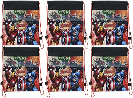 [6-Pack] Marvel Avengers 14-inch Sling Bags Drawstring Cinch Sack Totes, Iron Man, Captain America, Hulk, Thor