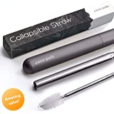 Eco-Pals | Straws Drinking Reusable Folding Straw | Stainless Steel Straw | Dishwasher Safe | +1 Straw Cleaning Brush (Charcoal)
