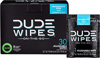 30-Pack Dude Wipes Flushable Individual Wet Wipes