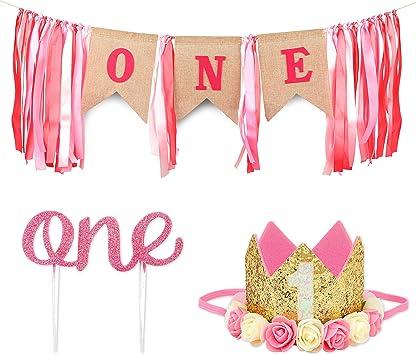 Amazon.com: Decoración para primer cumpleaños para niña con ...