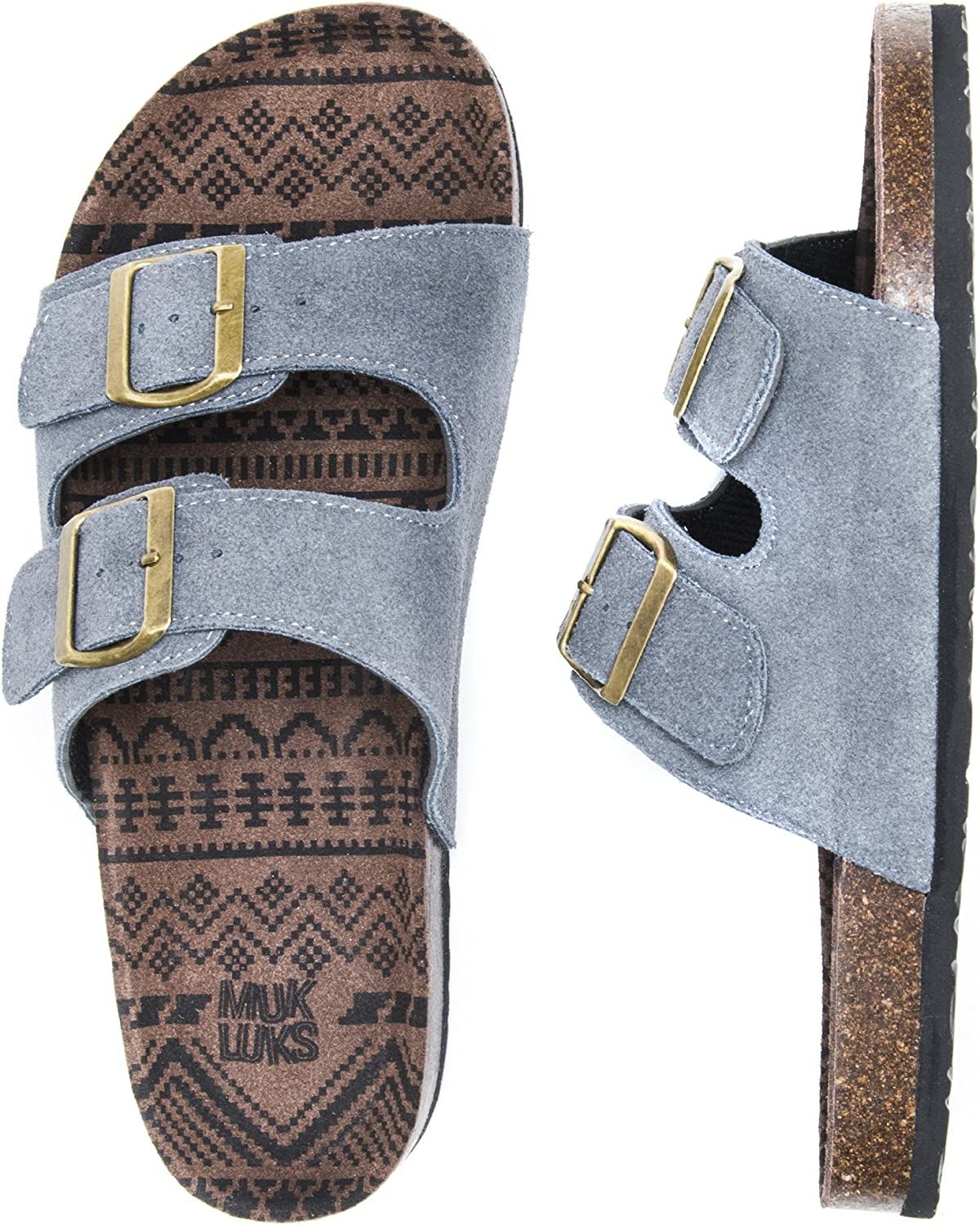 MUK LUKS Mens Parker Duo Starpped Sandal-Grey Slide 13 M US