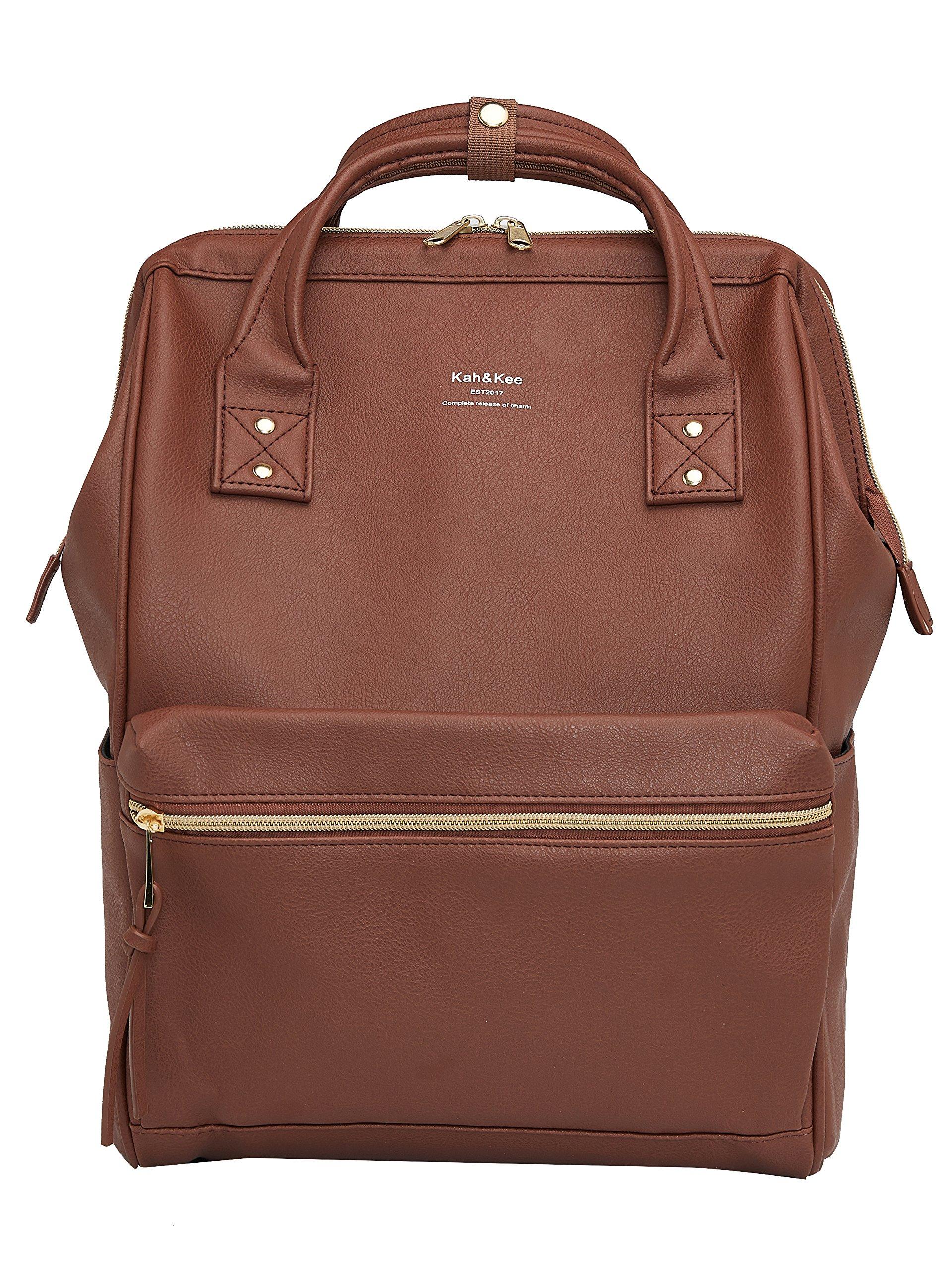 Kah&Kee Leather Travel Notebook Backpack Laptop School Diaper Bag for Women Man (Brown)