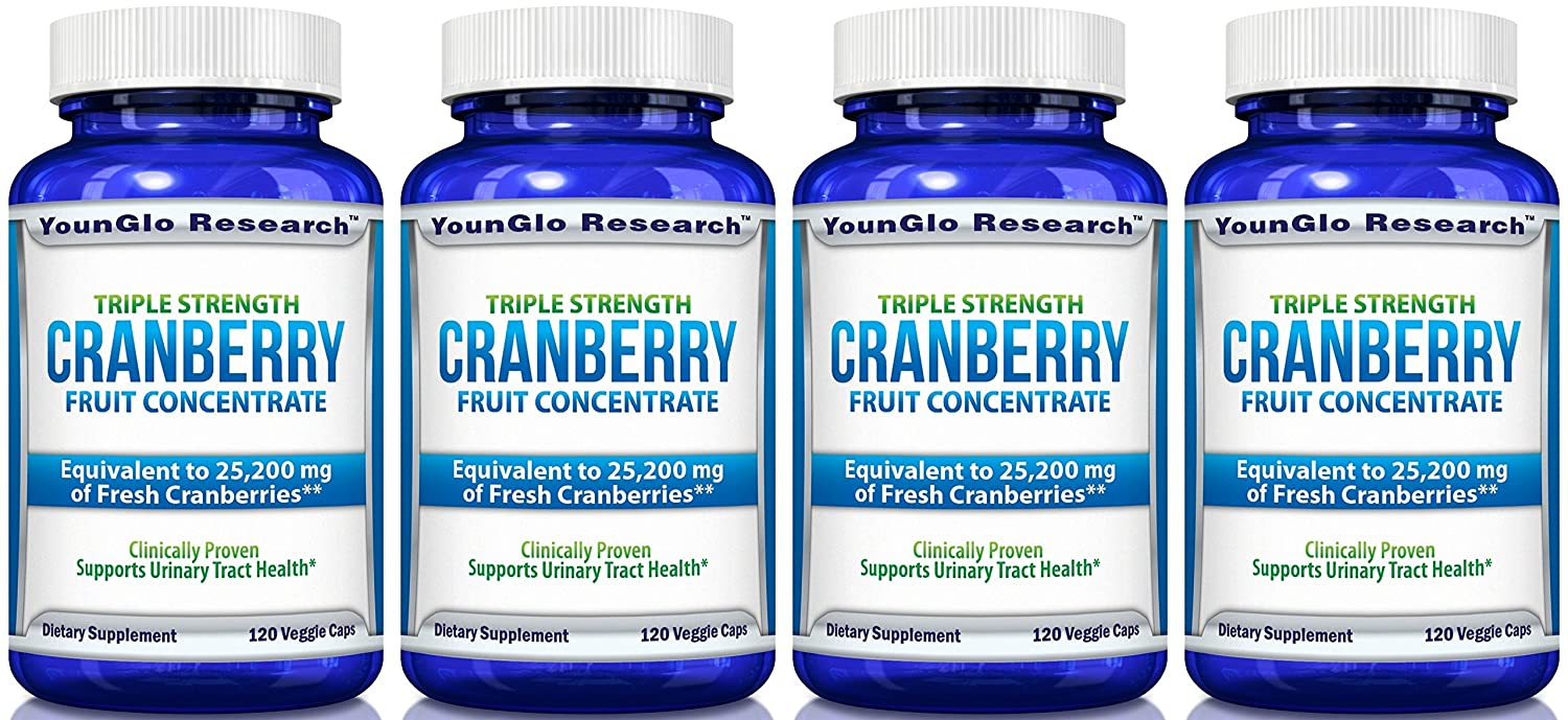 PACRAN Triple Strength Cranberry Pills Concentrate – Supports Urinary Tract Health – 120 Soy-Free Non-GMO Vegetarian Capsules 4 Pack