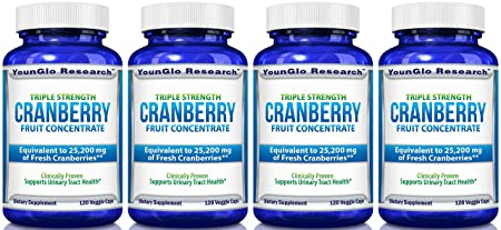 Cranberry Pills – Triple Strength PACRAN Concentrate – Supports Urinary Tract Health – 120 Soy-Free Non-GMO Vegetarian Capsules 4 Pack