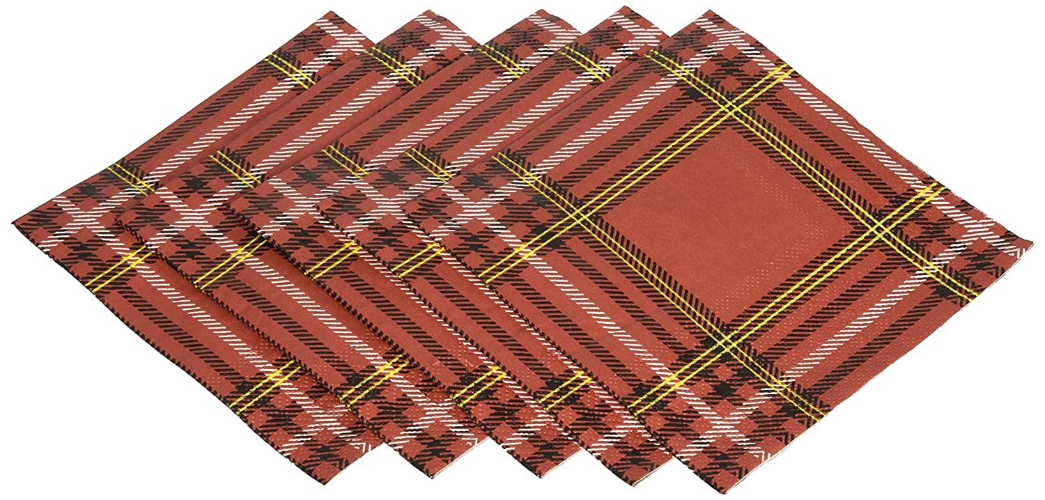 C.R. Gibson 20 Count, 3-Ply, Paper Beverage Napkin, Measures 5 x 5 - Plaid Forest TW4-17604