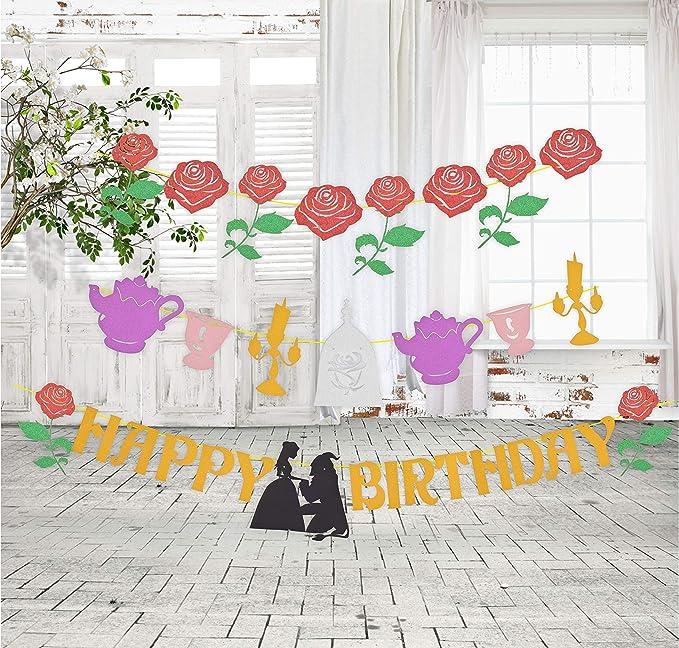 Amazon.com: Belle Happy Birthday - Guirnalda de rosas para ...