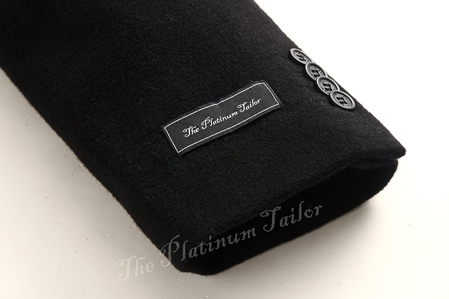 The Platinum Tailor Mens Double Breasted Black Cashmere /& Wool Overcoat Winter Velvet Collar /& Silver Lining