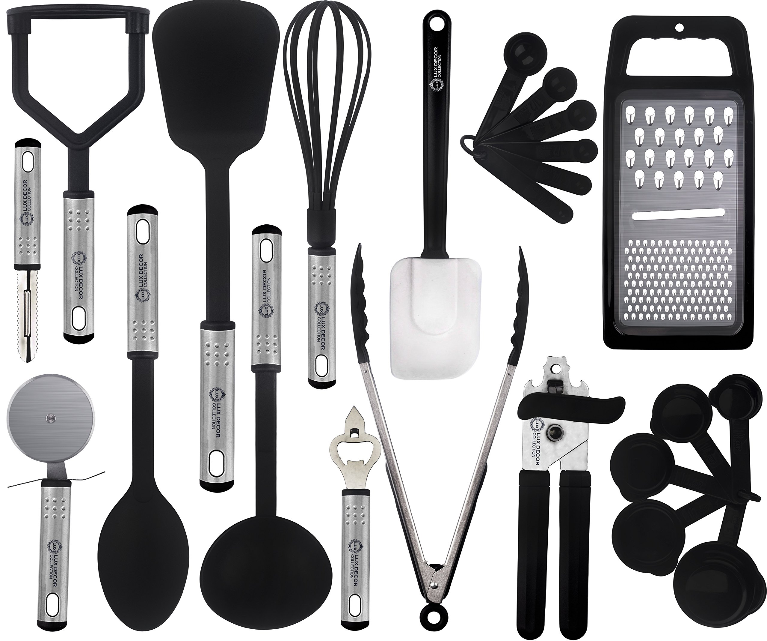 Cooking Utensils Set – 23 Pieces – Nylon Kitchen Utensils/Gadgets / Cookware Sets – By Lux Décor Collection