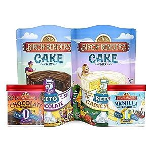 Birch Benders Keto Chocolate Cake Mix, Keto Classic Yellow Cake Mix (10.9oz) and Keto Vanilla Frosting, Keto Chocolate Frosting (10oz) Bundle (2 baking mixes and 2 frostings)