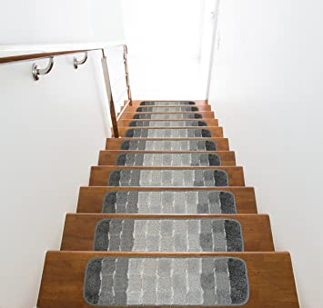 Slip Skid Resistant Rubber Back Stair Tread Mats, Indoor, 9 Inch By 28 Inch