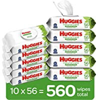 Baby Wipes, Huggies Natural Care Sensitive Baby Diaper Wipes, Unscented, Hypoallergenic, 10 Flip-Top Packs (560 Wipes…