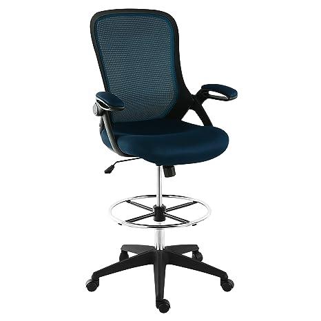 Marvelous Poly And Bark Sadia Mesh Ergonomic Drafting Tall Office Chair Stool In Blue Uwap Interior Chair Design Uwaporg