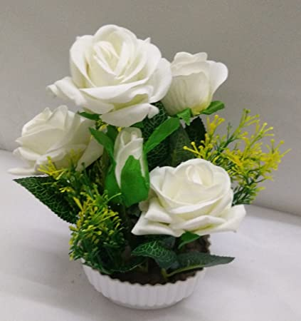 Ethnic Karigari Incredible Designer Decorative Beautiful Indoor Flower Vase Small Size White Roses for Office Desk & Buy Ethnic Karigari Incredible Designer Decorative Beautiful Indoor ...