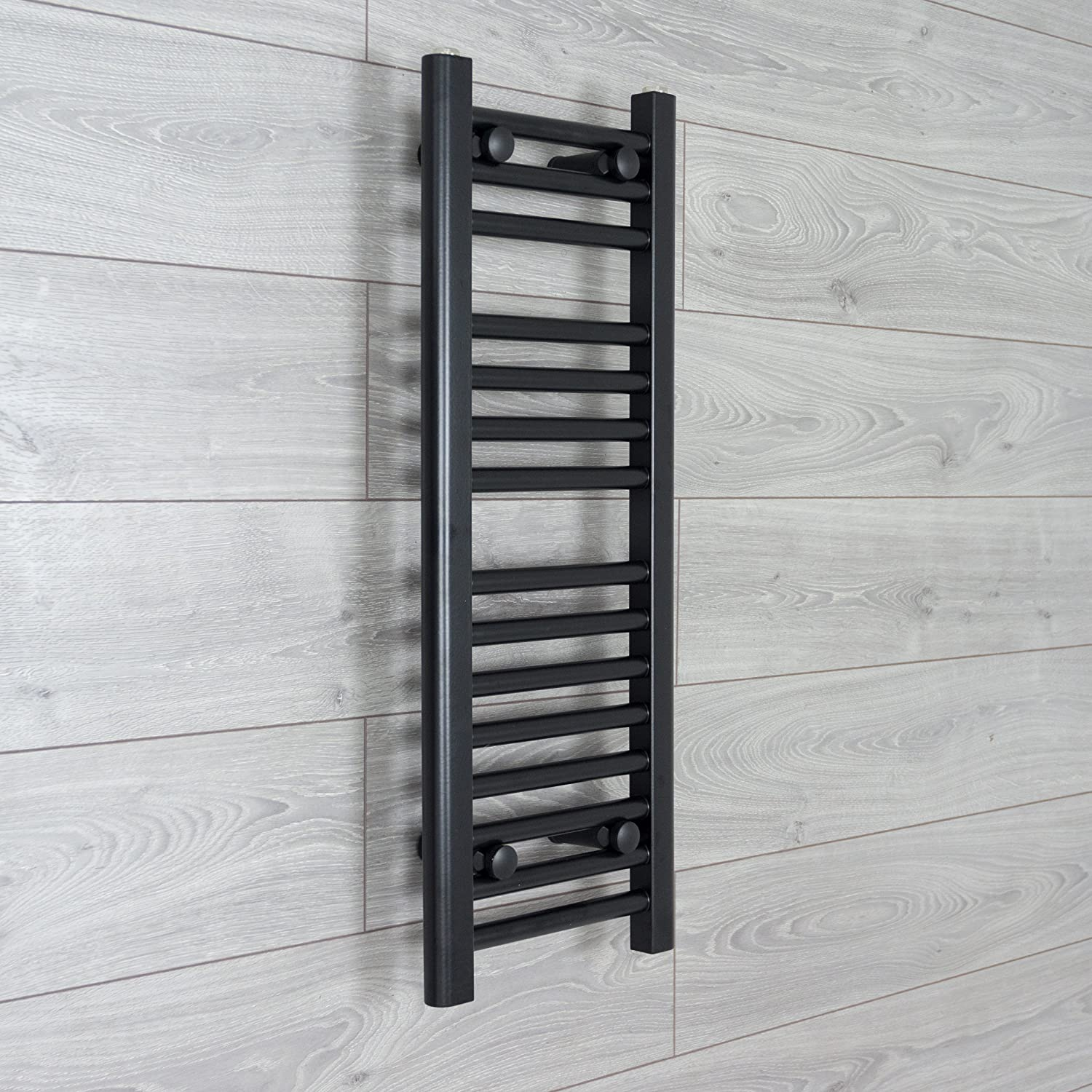 300mm Wide Black Heated Towel Rail Radiator Flat Ladder for Stylish Bathroom (800mm High) CBRAD