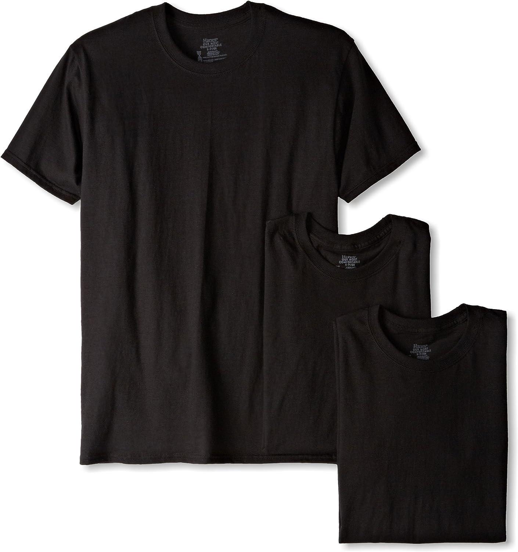 Small Hanes Ultimate Mens FreshIQ Odor Control Crew Neck Undershirt-Multipack Black 3-Pack
