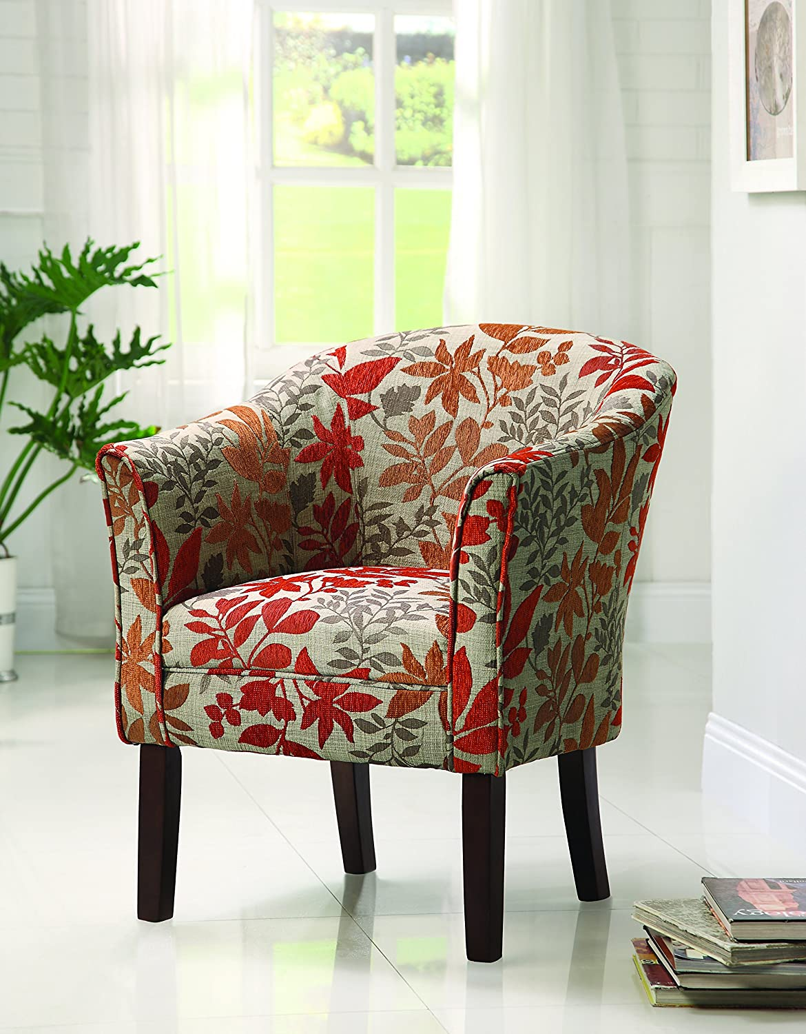 Furniture accent furniture club accent chairs red barrel studio - Amazon Com Coaster460407 Floral Barrel Back Accent Chair Kitchen Dining