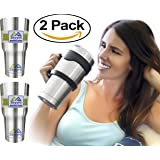 Set of 2 Stainless Steel Tumbler with Straw Lid and Brush (Two 30 Oz Tumbler Set, 8-Pieces) Double Wall Vacuum Insulated Tumbler Rambler Cup - Water Coffee Travel Mug w/ Gift Box (Handle Not Included)