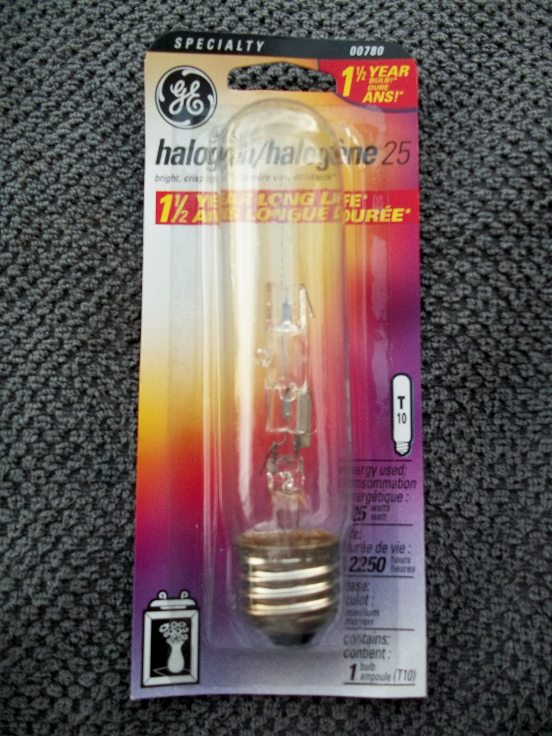 GE BRAND HALOGEN T10 25 WATT STANDARD MEDIUM USA BASE , CLEAR (30) BULBS by GE Lighting