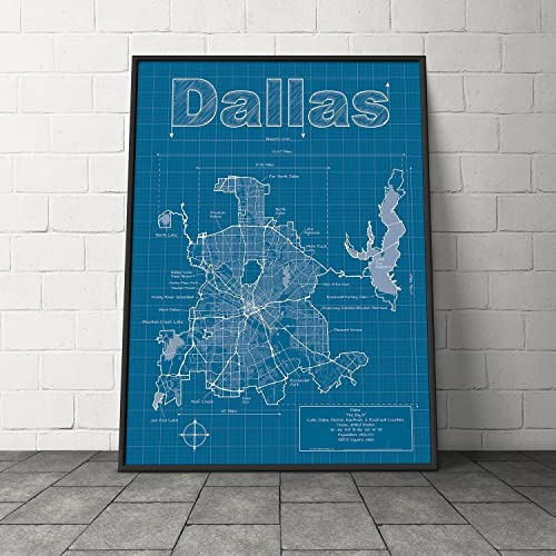 Amazon dallas texas map blueprint style handmade dallas texas map blueprint style malvernweather Choice Image