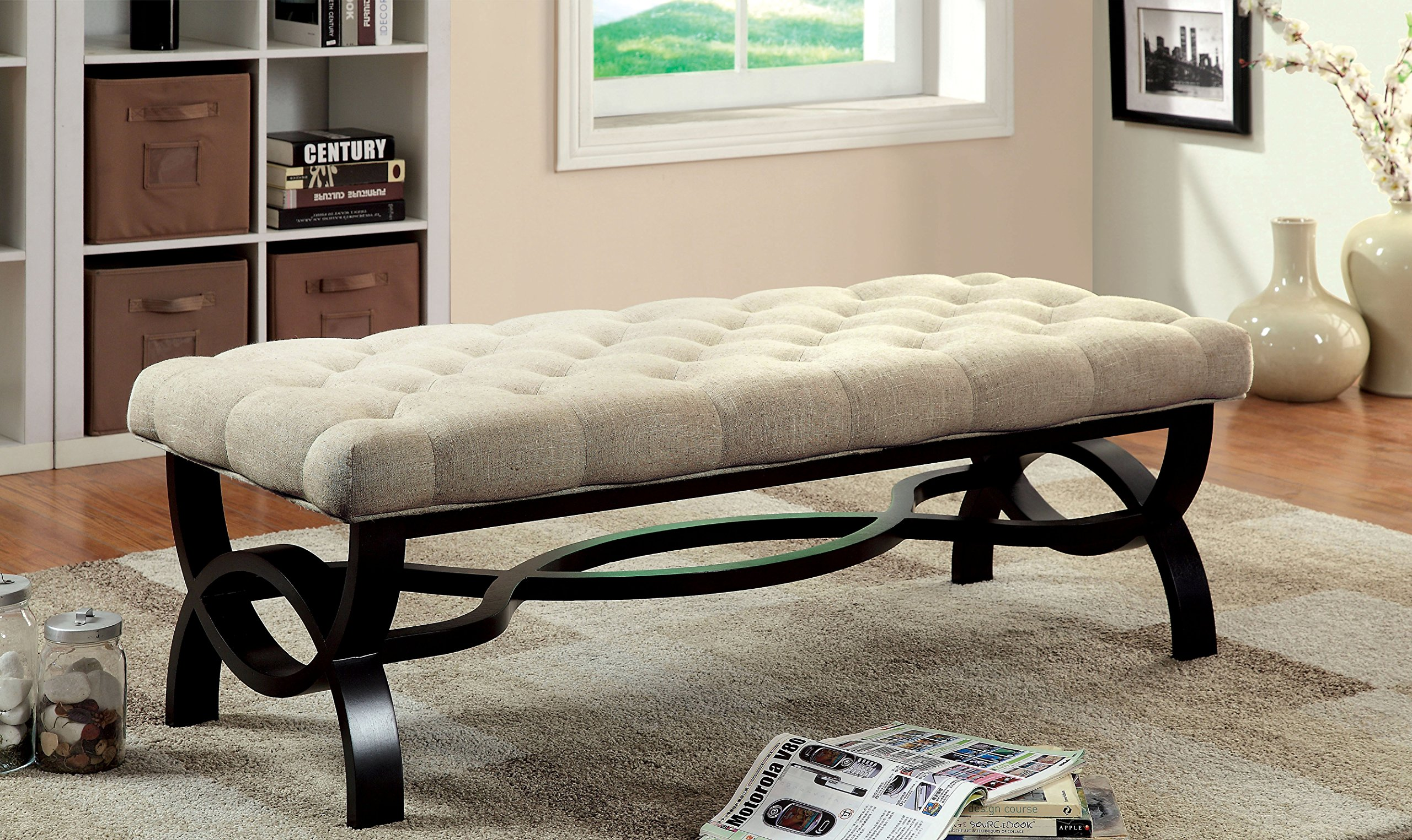 Furniture of America Beatrice Upholstered Accent Bench, Short