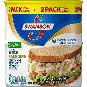 Swanson's Premium White Chunk Chicken Breast, 12.5 Oz Can, 2 Count