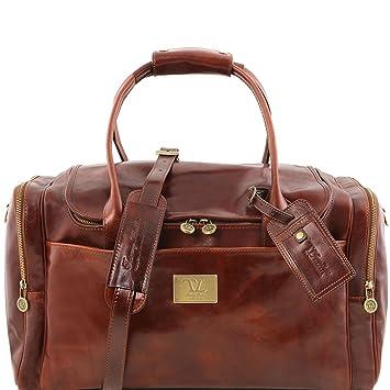 Tuscany Leather - TL Voyager - Sac de voyage en cuir avec poches aux côtés - Petit modèle - Marron foncé g0E9DRfO