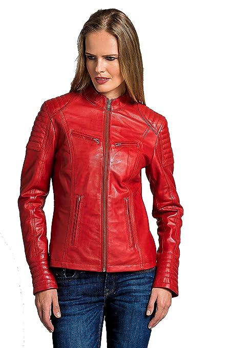 Urban Leather Corto Biker - Chaqueta de piel, Mujer, rojo, 4XL