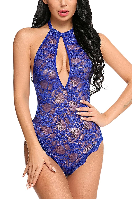 41202e8dd Avidlove Women Lace Teddy Lingerie Halter Babydoll Bodysuit One Piece  Sleepwear at Amazon Women s Clothing store