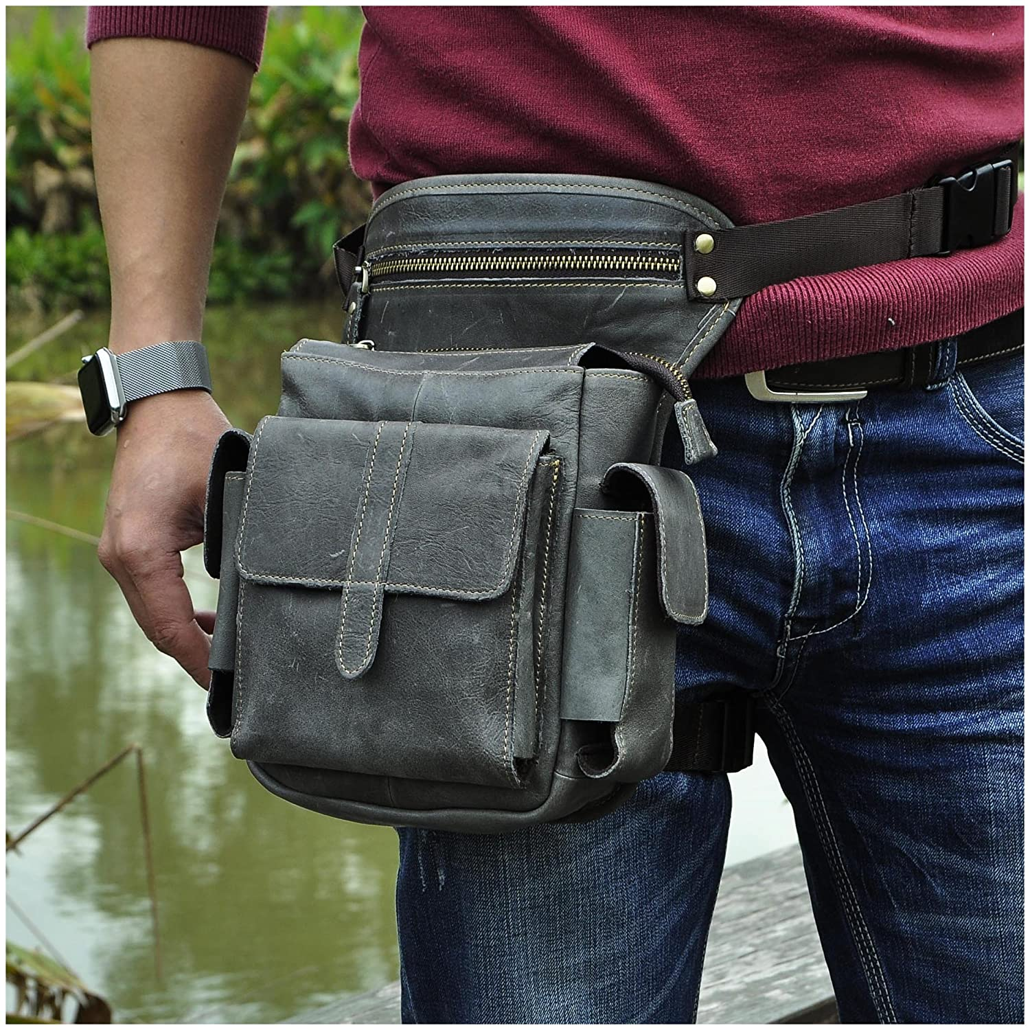 20d9124bd01e Le'aokuu Mens Genuine Leather Bike Cycling Waist Hip Bum Fanny Pack Drop  Leg Bag 913-5 (Grey 2)