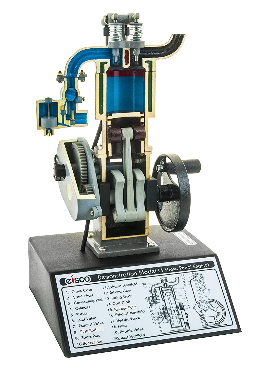 Eisco Labs 4 Stroke Gasoline Hand Crank Engine Model with Actuating Movable  Parts to Demonstrate Engine Basics - 13 75