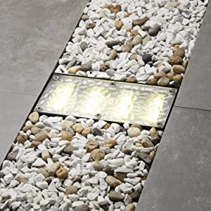 Solar Brick Landscape Path Light, 8x4 Recessed Polyresin Paver, 12 Warm White LEDs, Waterproof, Outdoor Use, No Wires or Plugs - Rechargeable Battery Included