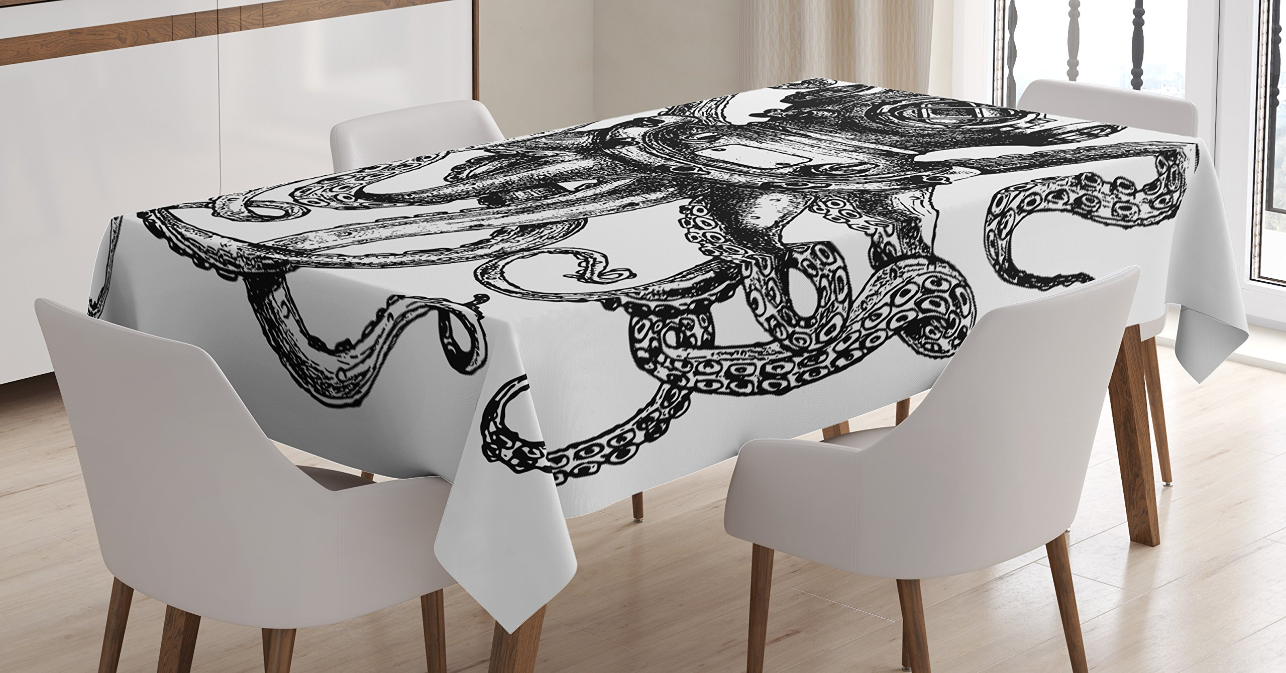 Ambesonne Octopus Tablecloth, Vintage Style Diver Helmet with Marine Animal Tentacles Scuba Concept, Dining Room Kitchen Rectangular Table Cover, 60 W X 84 L inches, Charcoal Grey and White