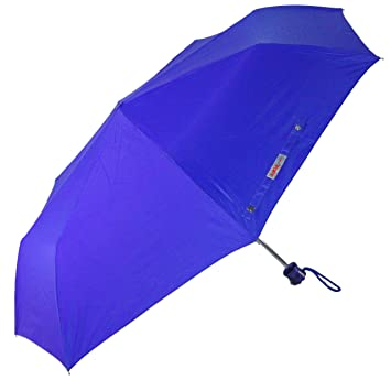 Popy 3 Fold Colour Umbrella For Ladies With Silver Coating & Steel Frame (Blue-Normal 545mm)