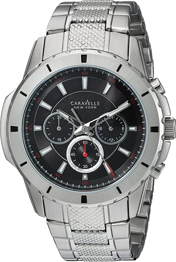 Amazon.com: Caravelle New York Mens Analog-Quartz Watch with Stainless-Steel Strap, Silver, 24 (Model: 43A137: Watches