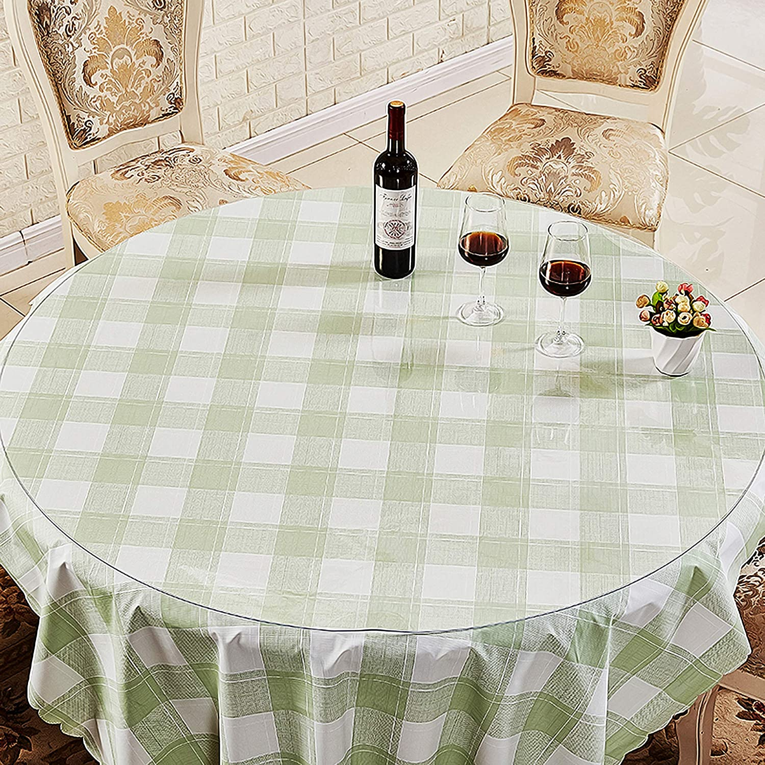 Round 48 Clear Multifunctional Desk Pad Table Mat 48 Round Table Cover Glass Dining Room Table Water Resistant Non-Slip Vinyl Table Protector Circle Table Pad for Coffee