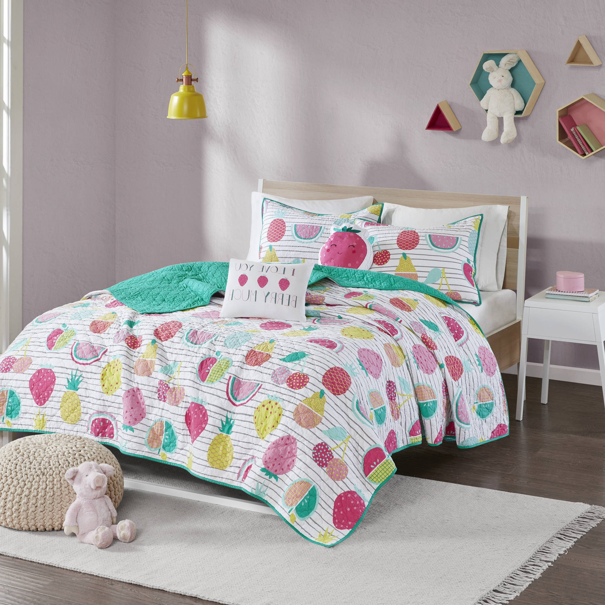 4 Piece Kids Pink Yellow Teal Fresh Fruit Themed Coverlet Twin XL Set, Cute Girls Multi Color Fruits Bedding, Vibrant Bright Pineapple Watermelon Strawberry Berry Theme Pattern, Cotton