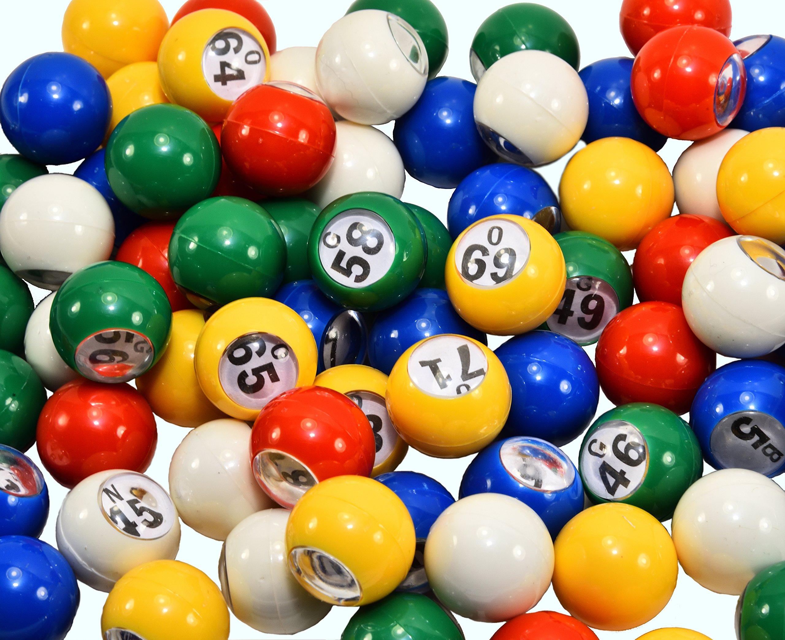 Regal Games 7/8 Premium Multi Color Replacement Bingo Balls with Easy Read Window (For 12'' Bingo Cage)