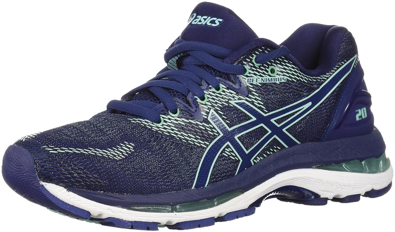 Indigo bluee Indigo bluee Opal Green ASICS Women's Gel Nimbus 20 Running shoes, Black White Carbon, 12 Medium US
