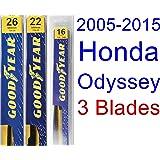 2005-2015 Honda Odyssey Replacement Wiper Blade Set/Kit (Set of 3 Blades