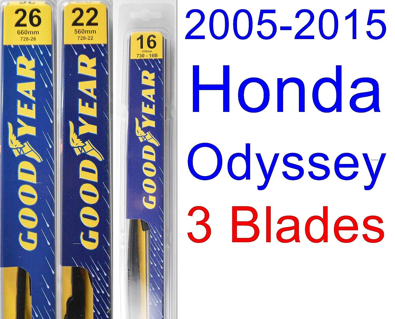 Amazon.com: Wiper Blade Set/Kit (Set of 3 Blades) (Premium) for 2005-2015 Honda Odyssey (2006,2007,2008,2009,2010,2011,2012,2013,2014): Automotive