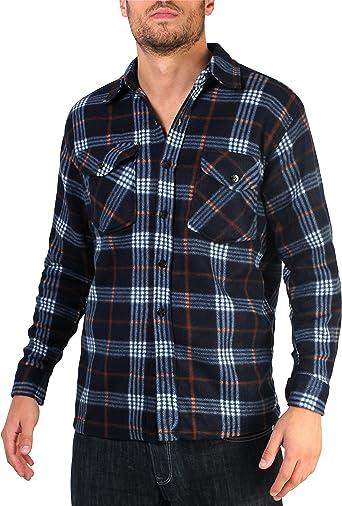 KRISP Hombre Cuadros Camisa Camisa de leñador Camisa de cuadros algodón franela Camisa azul marino y negro M: Amazon.es: Ropa y accesorios