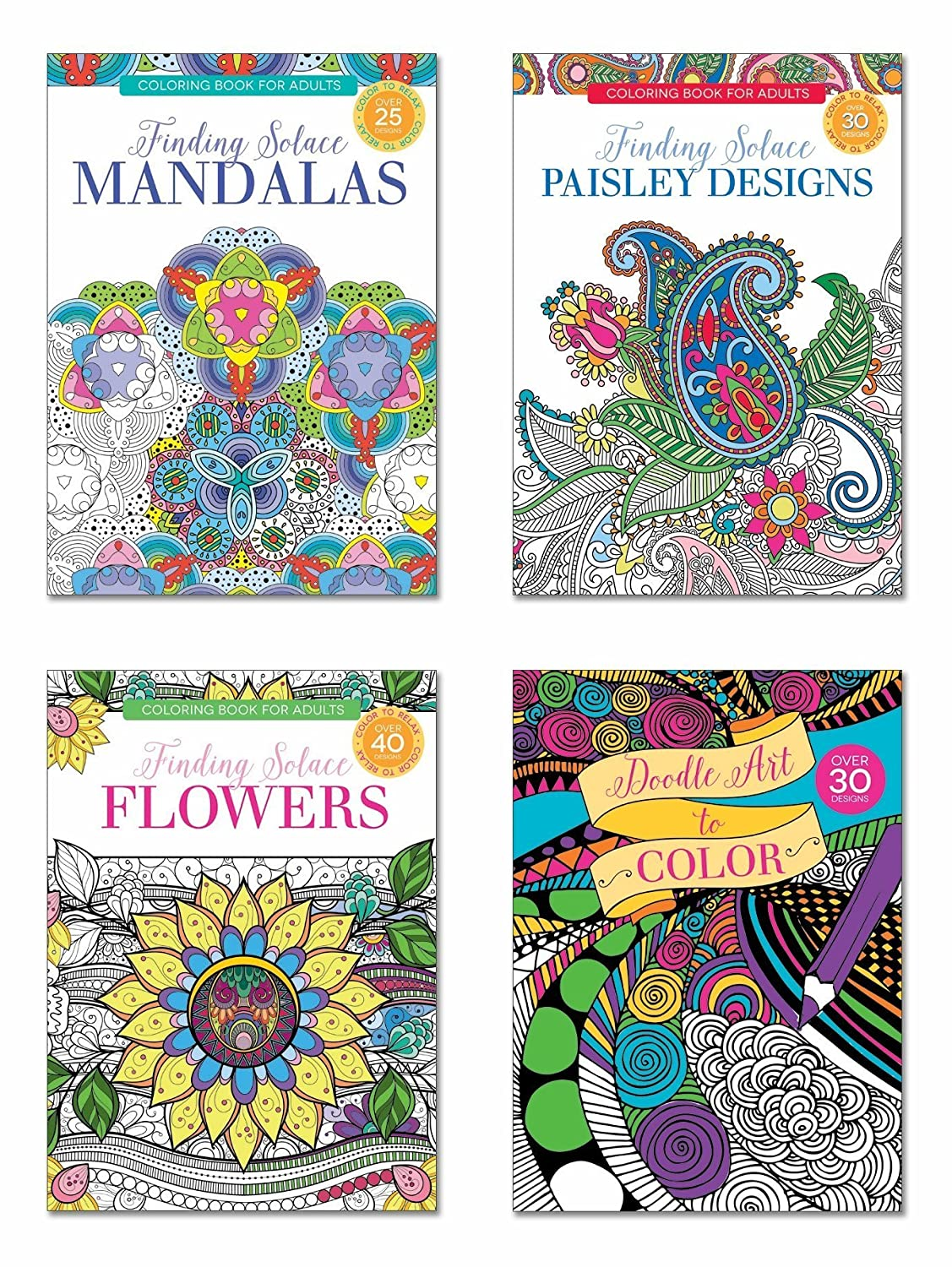 B-THERE Adult Coloring Books, Over 125 Different Designs Combined, Mandala Coloring Books for Adults with Detailed Flower Designs Printed on Heavy Paper, Set of 4 International Greetings 81358-81359-81360-81361