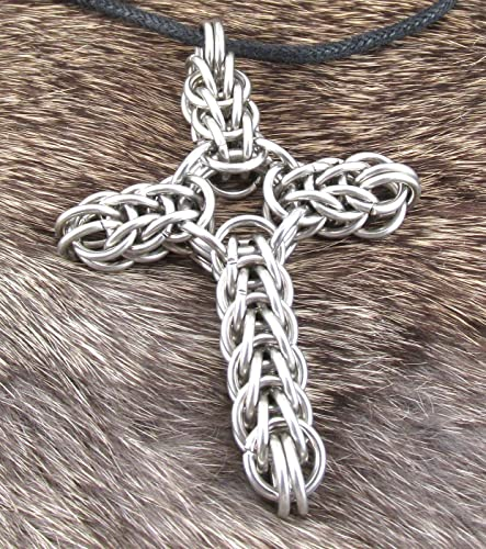 Chainmaille All Stainless Steel Cross Necklace
