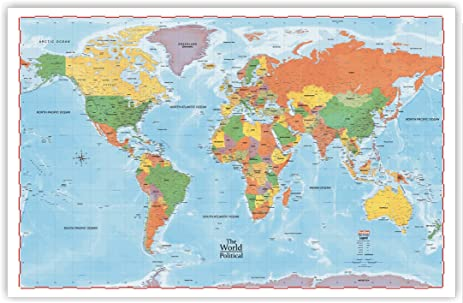 Amazon progeo maps the world political wall map 36 x 48 progeo maps the world political wall map 36quot x 48quot laminated gumiabroncs Images