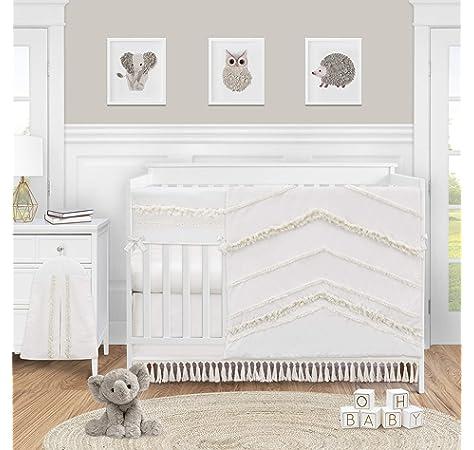 Amazon Com Sweet Jojo Designs Ivory Gender Neutral Boho Bohemian Baby Girl Boy Nursery Crib Bedding Set 4pc Solid Color Beige Cream Off White Farmhouse Chic Unisex Minimalist Tassel Fringe