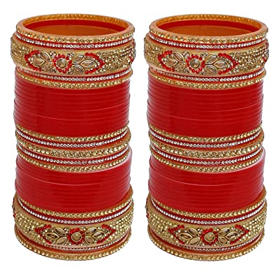 Buy Lucky Jewellery Bangle Set for Women (Red) (700-M1C1-735-R2.10) at  Amazon.in