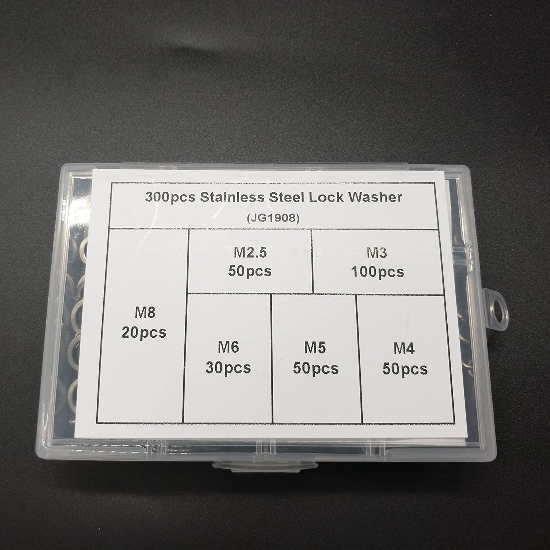 Boeray Stainless Steel Lock Washer Spring Split Washer Assortment Kits 300pcs M2.5 M3 M4 M5 M6 M8
