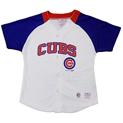 OuterStuff Chicago Cubs Blank Wordmark White Girls Youth Fashion Jersey