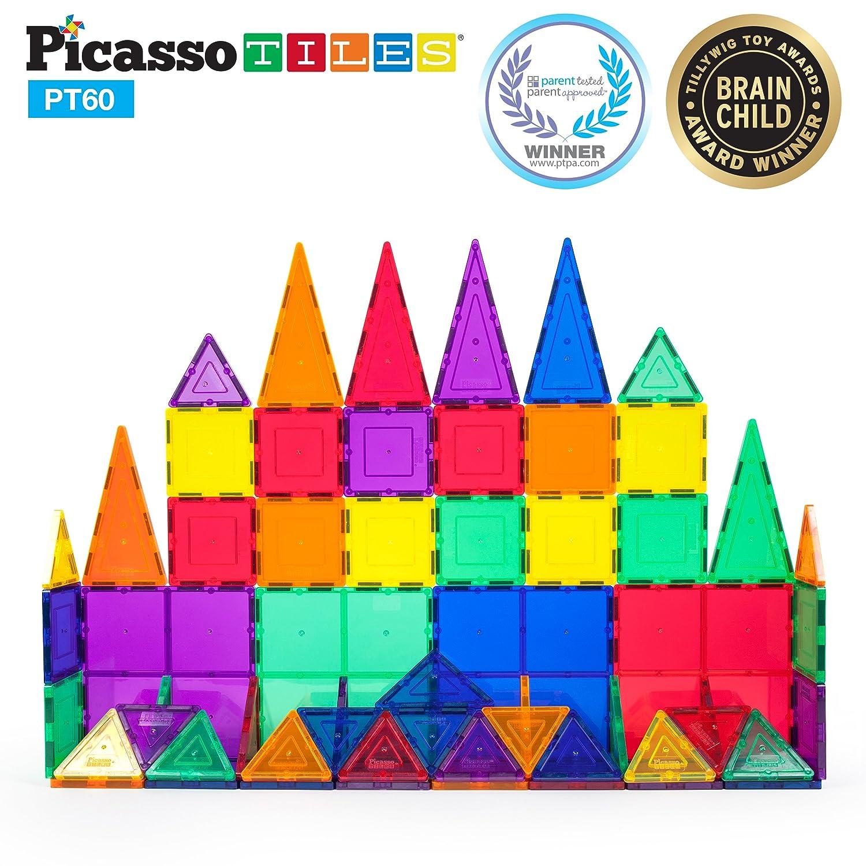 PicassoTiles 60 Piece Set 60pcs Magnet Building Tiles Clear Magnetic 3D Building Blocks Construction Playboards Conventional Inspirational Recreational Creativity Beyond Imagination Educational
